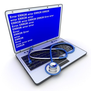Laptop error and stethoscope (done in 3d)